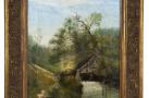 Неизвестный художник. «Пейзаж со старой мельницей». 1911 г.